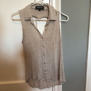 Tops - Women's Brown Shirt with Heart Cut Out in Back